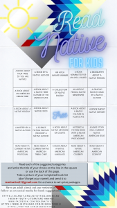 Read Native for Kids bingo style challenge list.